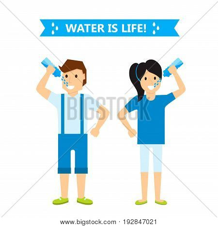 Beautiful couple girl and boy happiness childhood young cute person drink water woman and man vector illustration. Adorable lifestyle joyful preschool expression.
