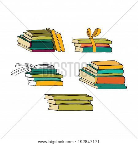 Hand drawn books. Vector illustration for your design.