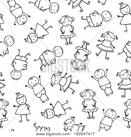 Seamless Vector Pattern - Linear People In Children's Style