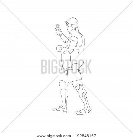 a man walks and takes photos on a mobile phone, continuous one line modern drawing on white background, vector illustration