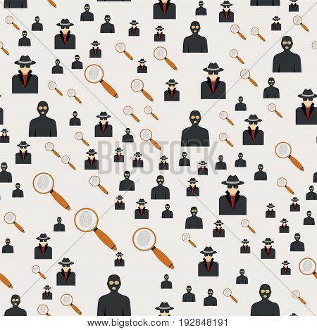 Seamless pattern silhouette of criminal man in hood or criminal hooligan human concrete background character vector illustration. Flat criminal robber people.