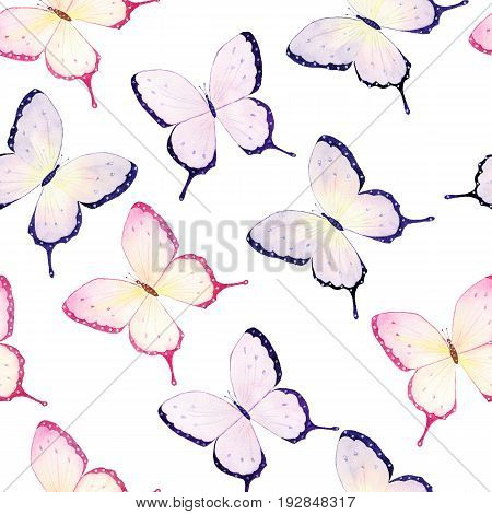 Watercolor seamless pattern with colorful butterflies on white background
