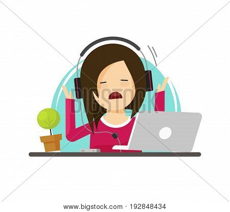 Girl in stress while working on laptop vector illustration, flat cartoon stressed business woman sitting on work table and computer, overworked, stressful or exhausted person in depression