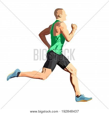 Running man in green shirt isolated vector illustration side view