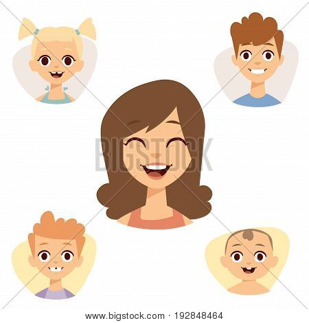 Vector set beautiful smiling emoticons face of people fear avatars. Set of cartoon human head person expression character different sexes happy laugh group young emoji portrait.
