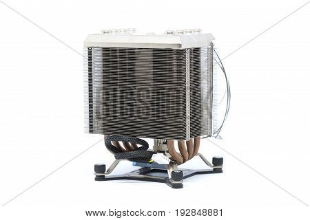 Cooler CPU fan with heat sink and cable isolated on white background