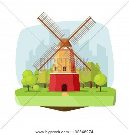 Mill farm on nature landscape vector illustration, flat carton style retro dutch windmill near forest on city background