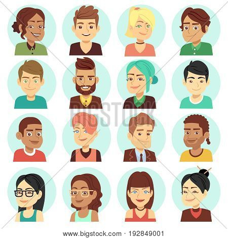 Satisfied people faces, happy laughing people portraits vector. Set of portrait young man and woman illustration