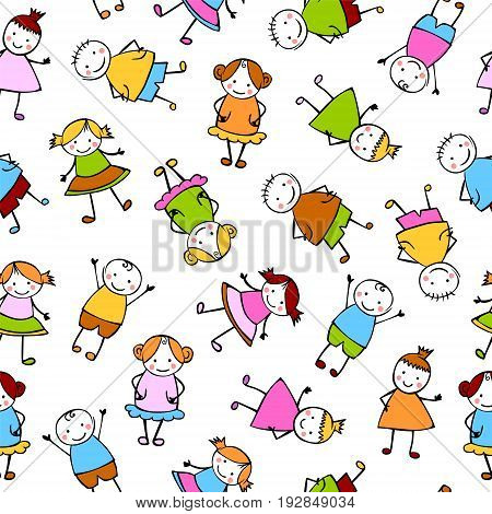 Seamless Vector Pattern - Colorful People In Children's Style