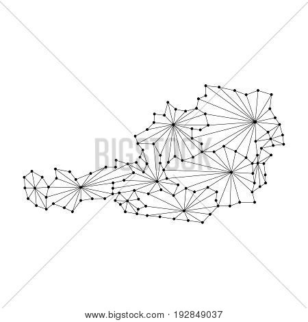Austria map of polygonal mosaic lines rays and dots vector illustration.