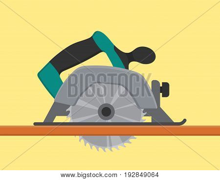 Electric Circular saw sawing tree wood cutter. Professional instrument, working tool. Vector illustration