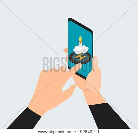 Man hand touching screen on modern digital smartphone. -stock vector
