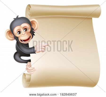 Cute cartoon chimp monkey like character mascot peeking around a scroll banner sign and pointing at it