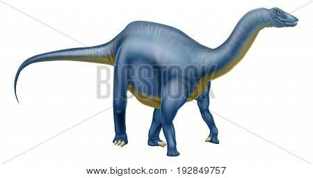 An illustration of a Diplodocus dinosaur from the sauropod family like brachiosaurus and other long neck dinosaurs. What we used to call brontosaurus