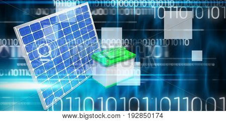 3d illustration of solar panel with battery against blue technology design with binary code