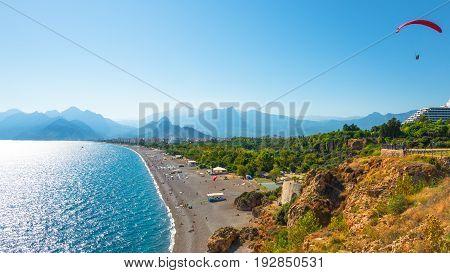 View Of Antalya Harbor, Mediterranean Sea And Seacoast, Antalya, Turkey