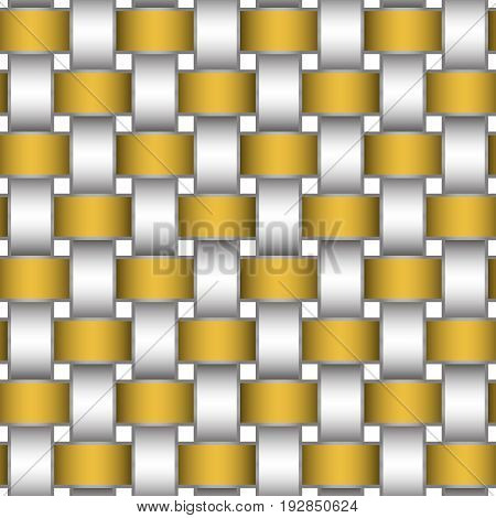 Abstract repeatable pattern background of golden and silver braided strips with metallic strokes. Swatch of intertwined straight bands. Volumetric seamless wallpaper in modern style.