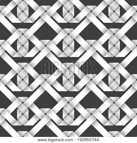 Abstract repeatable pattern background of white twisted strips. Swatch of intertwined ribbons. Seamless pattern with volume effect.