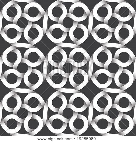 Abstract repeatable pattern background of white twisted strips. Swatch of intertwined circular strips. Seamless pattern with optical illusion of volume rings.