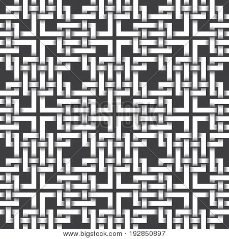 Abstract repeatable pattern background of white braided strips. Swatch of intertwined bands. Volumetric seamless pattern in modern style.