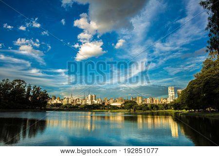 Sao Paulo skyline from Ibirapuera Park in Sao Paulo, Brazil