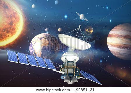 3d illustration of solar satellite against composite image of solar system against white background
