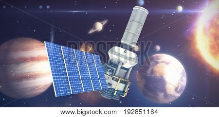 3d image of modern solar power satellite against composite image of solar system against white background