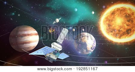 Vector image of 3d modern solar power satellite against composite image of solar system against white background