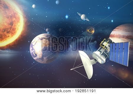 Vector image of 3d solar powered satellite against composite image of solar system against white background