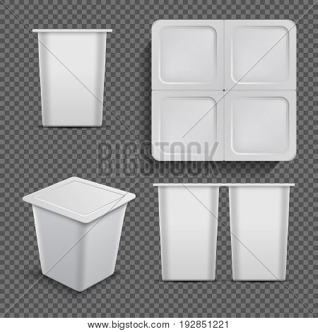 White blank container. Ice cream dessert and yoghurt packaging isolated. Vector mockup package plastic for dessert or packaging yoghurt illustration