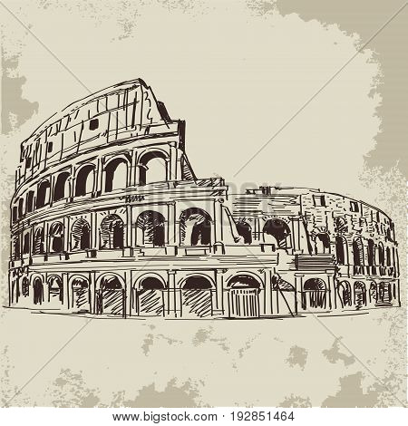 Hand drawn isolated Coliseum  sketch in retro style