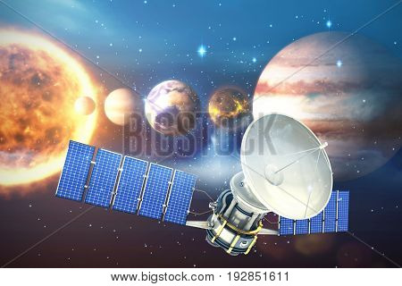 Vector image of 3d solar power satellite against composite image of planets with sun against white background