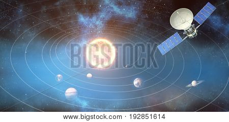 Digitally generated image of 3d solar satellite against graphic image of solar system