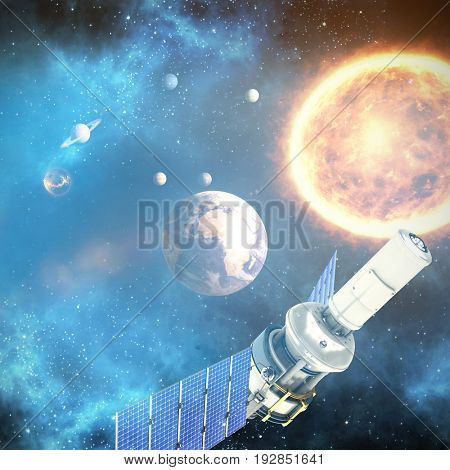 Low angle view of 3d modern solar satellite against graphic image of solar system