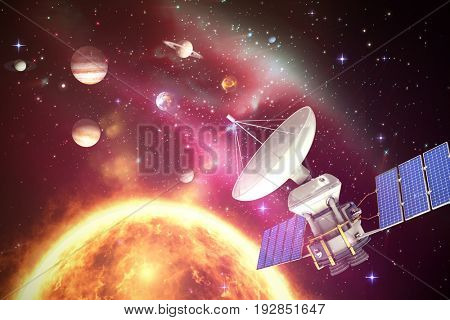 Vector image of 3d solar powered satellite against composite image of planets over sun