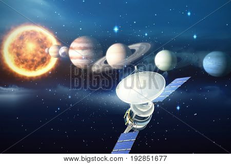 Vector image of 3d solar satellite against composite image of planets and sun
