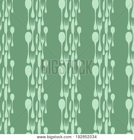 Cutlery seamless vector pattern. Silverware hand implements - spoon, knife and fork silhouettes mosaic arranged in vertical stripes on green background. Restaurant and meal theme wallpaper design.