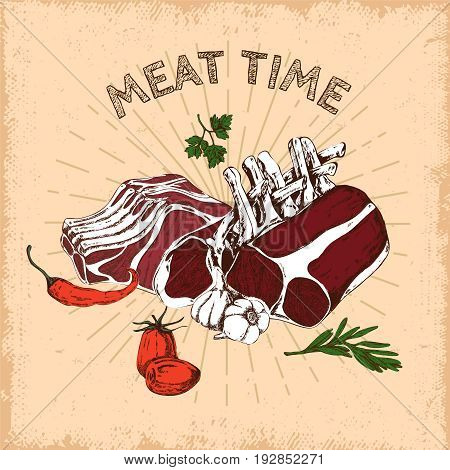 Meat time hand drawn design with flesh and bones in rays on beige worn background vector illustration