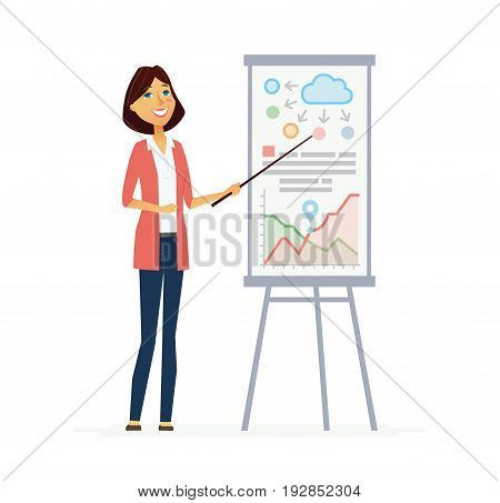Female Presenter - colored vector modern flat illustrative composition of a cartoon character with infographic charts and data. Make a great presentation with this business trainer, educator.