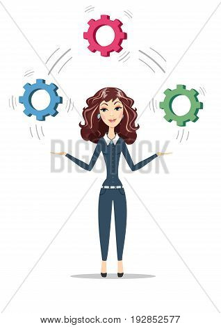 Businesswoman holding cog wheels. Women in business. Symbolizing strategic thinking, creativity. For use in presentations. Stock vector illustration