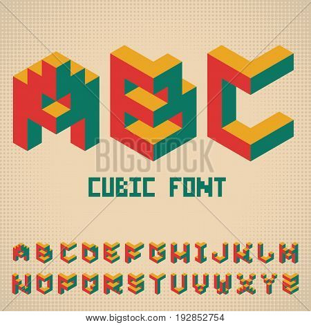 Alphabet Cubic Font Poster with colorful cubes and three letters on stylish background vector illustration