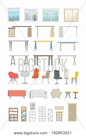 Office Essentials - modern color vector flat icons set. Big variety of desks, chair, window, city view, curtain, sofa, couch, armchair, door, drawer, shelf, book, folder, rackmount cabinet