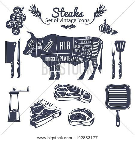 Steaks icons set with butchery scheme of cow cooking tools and vegetables vintage style isolated vector illustration