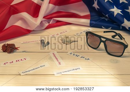 4th of July, the US Independence Day, wood background, American flag, United States of America, shells, weekends, holidays, sunglasses