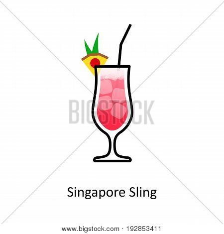 Singapore Sling cocktail icon in flat style. Vector illustration