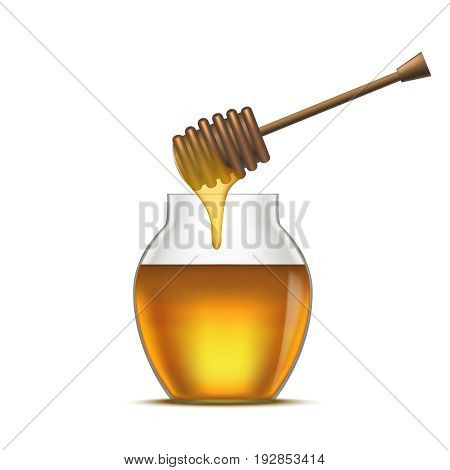 Realistic Detailed Dipper and Glass Jar Honey Natural Healthy Sweet Dessert Food. Vector illustration