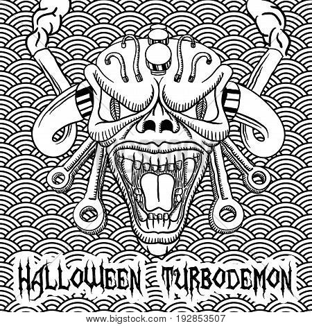 Monochrome Halloween Turbodemon Poster with angry skull in the centre vector illustration