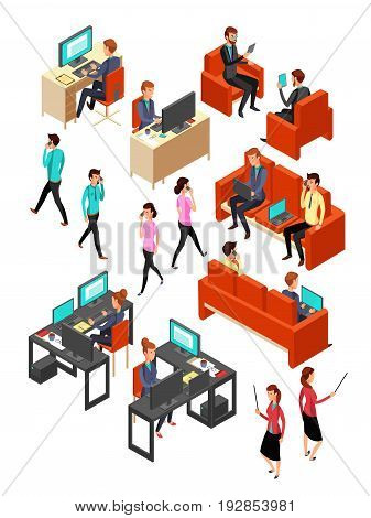 Isometric business office people networking. Isolated 3d professional persons vector set. Business office with people worker illustration