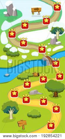 Cartoon game level map template with marks road signboard pointer river summer and winter landscapes vector illustration