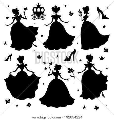 Little princess vector silhouettes. Girl princess black silhouette illustration isolated on white background